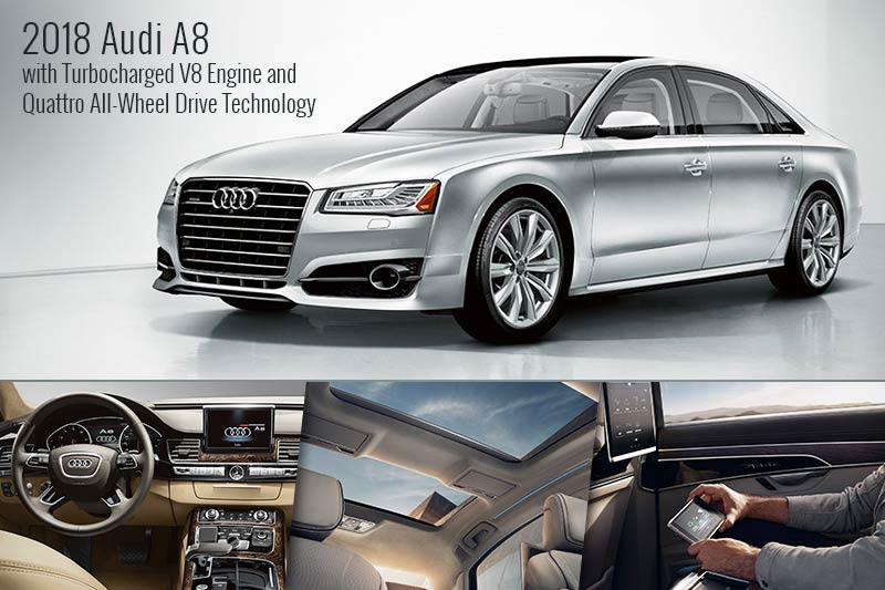 2018 Audi A8 with Turbocharged V8 Engine and Quattro All-Wheel Drive Technology